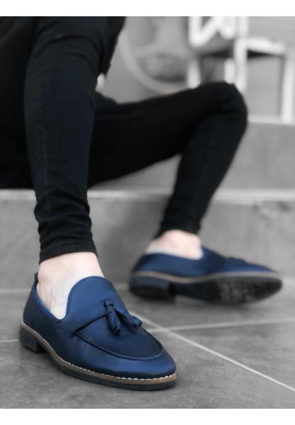 BA0009 BOA Klasik Corcik Cilt Püsküllü Lacivert Erkek Ayakkabı