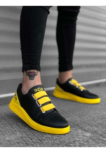 BA0179 3 Bantlı Siyah Sarı Yüksek Taban Erkek Ayakkabısı