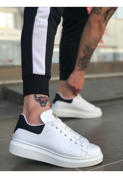 BA0501 Bağcıklı Beyaz Siyah Rahat Yüksek Taban Unisex Ayakkabı