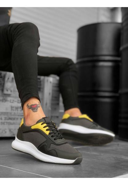 BA0174 Yüksek Taban Casual Bağcıklı Antrasit Sneakers Erkek Ayakkabı