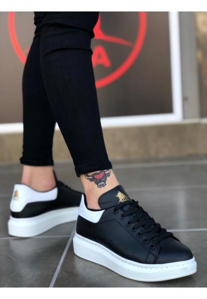BA0501 Bağcıklı Siyah Beyaz Rahat Yüksek Taban Erkek Ayakkabı