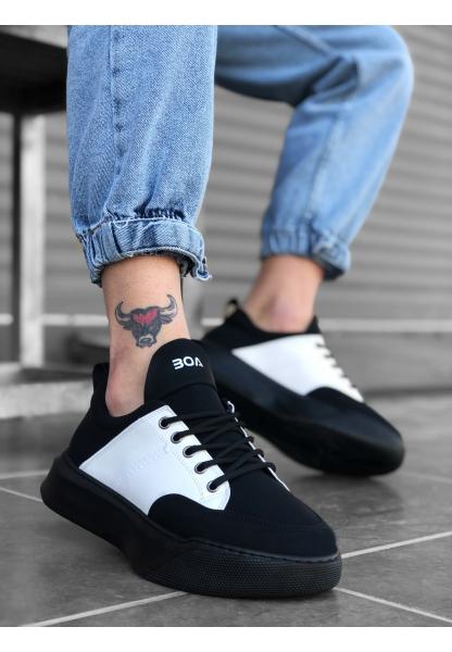 BA0163 Bağcıklı Erkek Yüksek Taban Siyah Beyaz Spor Ayakkabı
