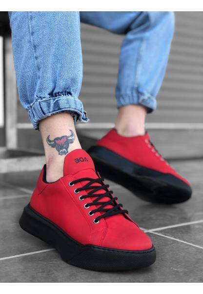 BA0161 Bağcıklı Erkek Yüksek Taban Kırmızı Spor Ayakkabı