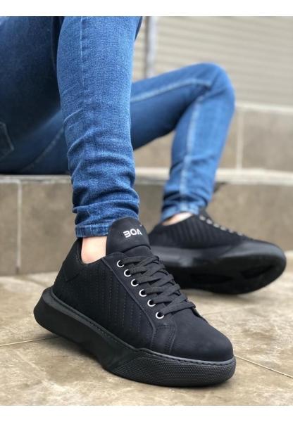 BA0162 Bağcıklı Erkek Model Dikişli Yüksek Taban Siyah Spor Ayakkabı