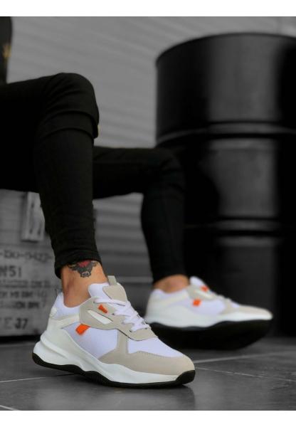 BA0175 Yüksek Taban Casual Bağcıklı Beyaz Sneakers Erkek Ayakkabı
