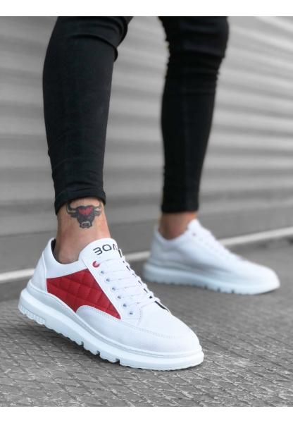 BA0180 Bağcıklı Kapitone Desenli Beyaz Kırmızı Yüksek Taban Erkek Ayakkabısı