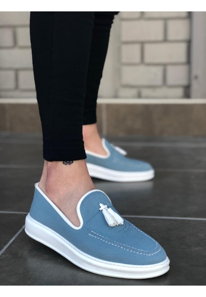 BA0122-BOA Yüksek Taban Püsküllü Klasik Keten Mavi Beyaz Erkek Ayakkabı