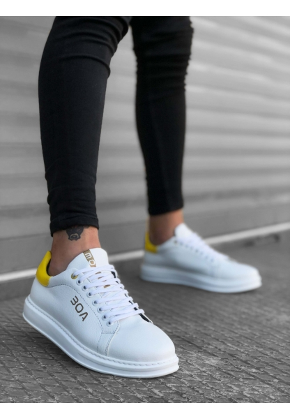 BA0169 Bağcıklı Beyaz Sarı Beyaz Yüksek Taban Erkek Ayakkabısı