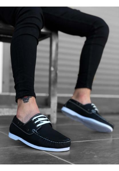 BA0177 Bağcıklı Corcik Siyah Klasik Erkek Ayakkabısı