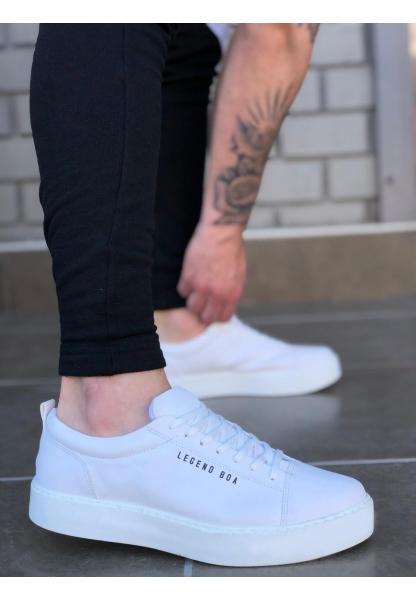 BA0104 Bağcıklı Beyaz Cilt Deri Spor Klasik Erkek Ayakkabı