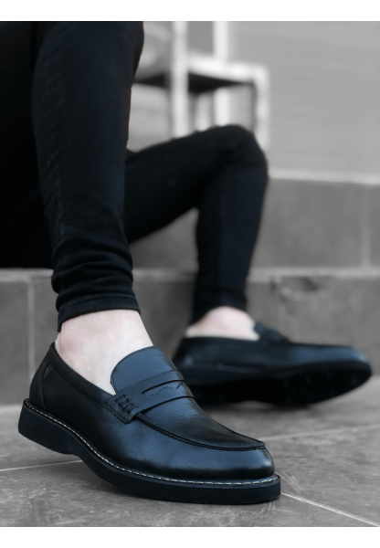 BA0024 İçi Dışı Hakiki Deri Siyah Klasik Erkek Ayakkabısı