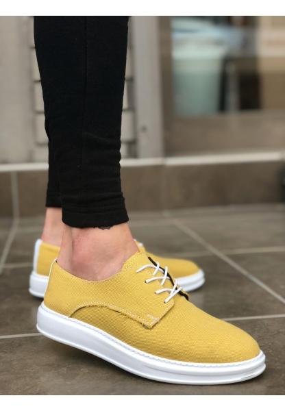 BA0003 Bağcıklı Klasik Spor Keten Sarı Beyaz Yüksek Taban Casual Erkek Ayakkabı