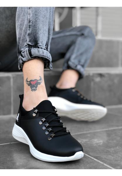 BA0601 Bağcıklı Rahat Yüksek Taban Siyah Beyaz Casual Erkek Spor Ayakkabı