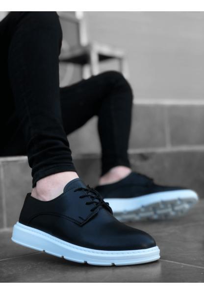 BA0003 Bağcıklı Klasik Siyah Beyaz Yüksek Taban Casual Erkek Ayakkabı