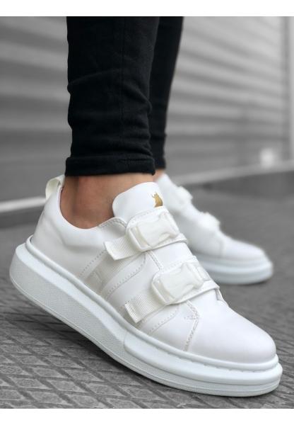 BA0152 BOA Kalın Yüksek Taban Süt Beyaz  Kemerli Erkek Spor Ayakkabı