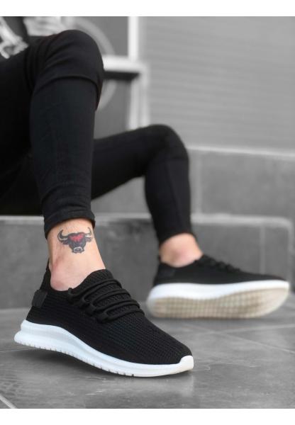 BA0167 Kalın Taban Tarz Sneakers Siyah Beyaz Taban Erkek Spor Ayakkabısı