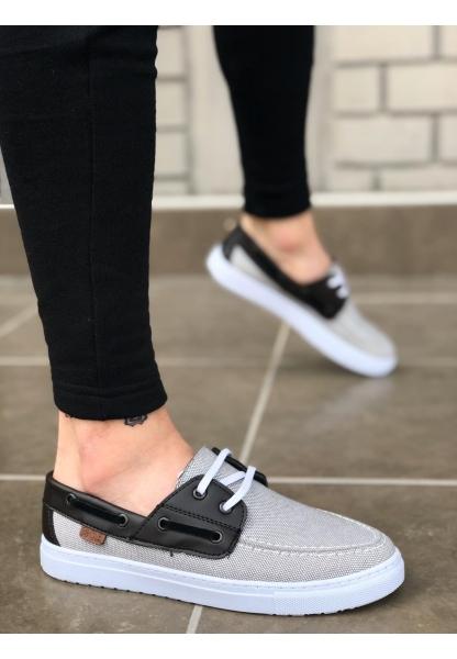 BA0101 Bağcıklı Gri Siyah Beyaz Taban Spor Klasik Erkek Ayakkabı