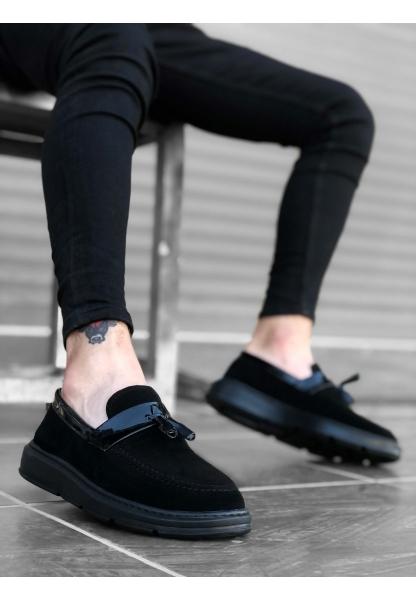 BA0005 Bağcıksız Yüksek Taban Klasik Siyah Süet Parlak Kuşaklı Püsküllü Erkek Ayakkabı