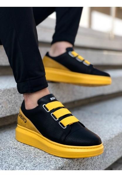 BA0029 3 Bant Legend Siyah Sarı Kalın Taban Casual Erkek Ayakkabısı