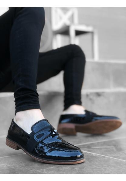 BA0116 BOA Klasik Püsküllü Corcik Rugan Siyah Desenli Erkek Ayakkabı