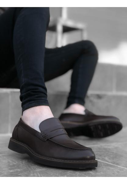 BA0024 İçi Dışı Hakiki Deri Kahverengi Klasik Erkek Ayakkabısı