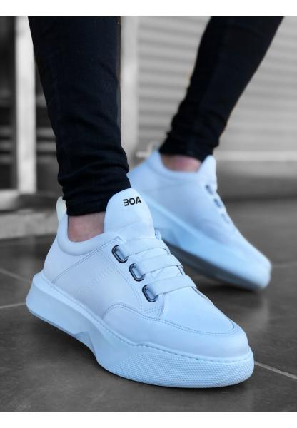 BA0160 Bantlı Erkek Yüksek Taban Beyaz Spor Ayakkabı