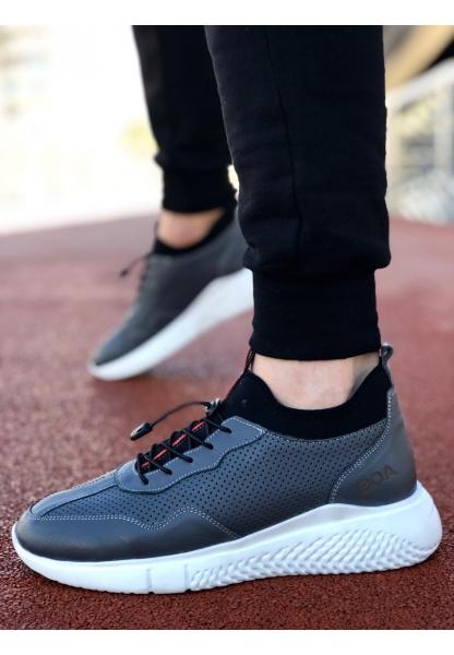 BA0039 İçi Dışı Hakiki Deri Rahat Taban Gri Sneakers Casual Erkek Ayakkabı