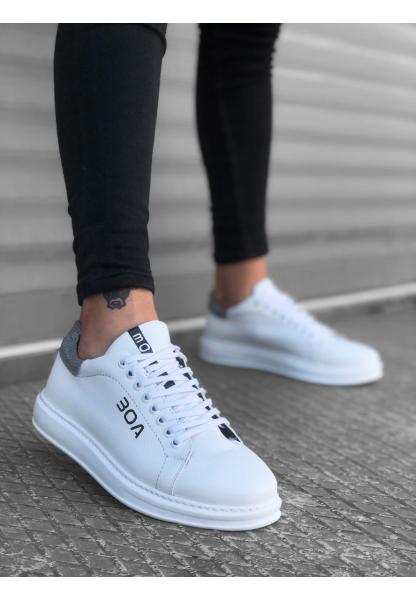 BA0169 Bağcıklı Beyaz Gri Yüksek Taban Erkek Ayakkabısı