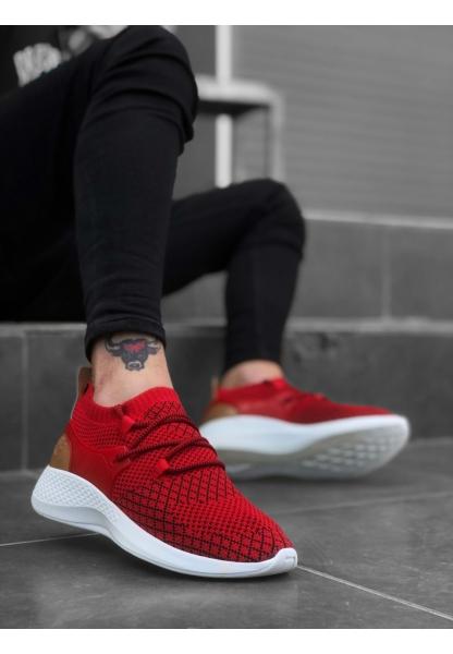 BA0001 Fly Rahat Yüksek Taban Kırmızı Erkek Spor Ayakkabı