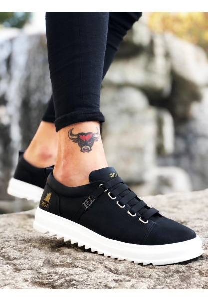 BA0111 Lastikli Rahat Taban Siyah Beyaz Sneakers Erkek Spor Ayakkabı