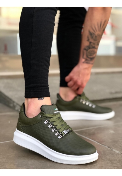 BA0124 Bağcıklı Sneakers Tarz Haki Yeşil  Beyaz Yüksek Taban Erkek Ayakkabı