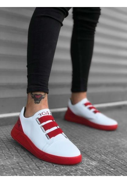 BA0179 3 Bantlı Beyaz Kırmızı Yüksek Taban Erkek Ayakkabısı
