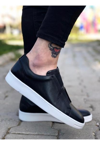 BA0097 İçi Dışı Hakiki Deri Rahat Taban Siyah Sneakers Casual Erkek Ayakkabı