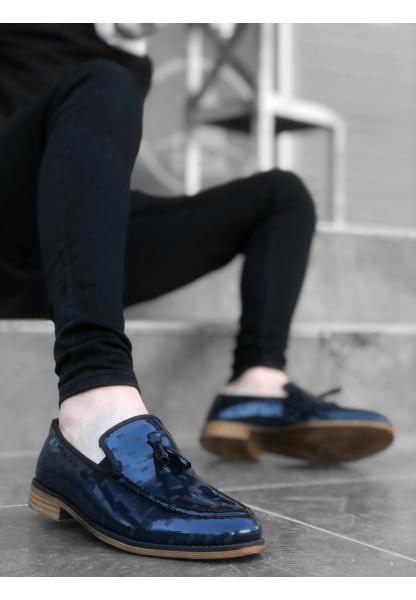 BA0116 BOA Klasik Püsküllü Corcik Rugan Lacivert Erkek Ayakkabı