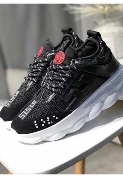 BA0132 BOA Kalın Taban Sneakers Tarz Siyah Beyaz Erkek Spor Ayakkabı