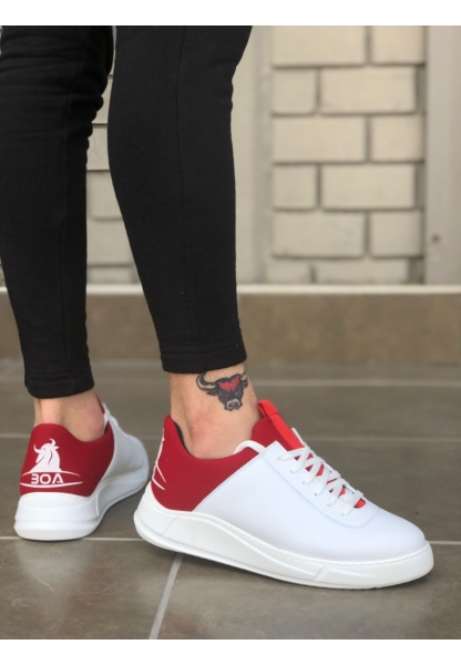 BA0031 Sneakers Beyaz Kırmızı Yüksek Taban Casual Erkek Ayakkabı