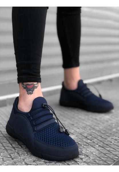 BA0173 Kalın Taban Lastikli Tarz Sneakers Lacivert Erkek Spor Ayakkabısı