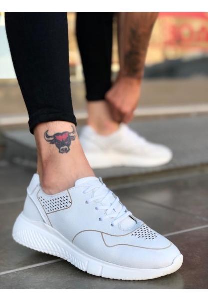 BA0139 İçi Dışı Hakiki Deri Beyaz Sneakers Erkek Ayakkabı