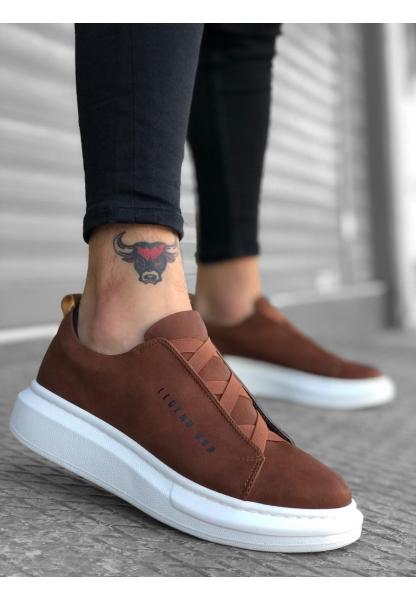 BA0134 BOA Kalın Yüksek Taban Çapraz Bant Taba Beyaz Erkek Ayakkabı