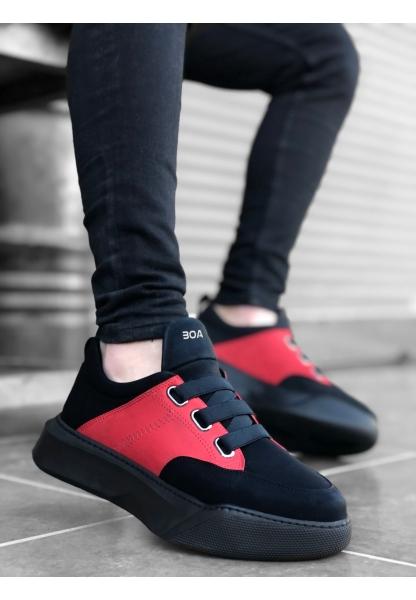 BA0160 Bantlı Erkek Yüksek Taban Siyah Kırmızı Spor Ayakkabı