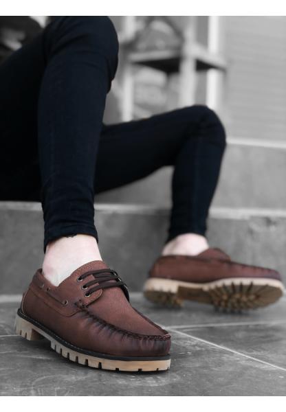 BA0037 Bağcıklı Corcik Taba Klasik Erkek Ayakkabısı