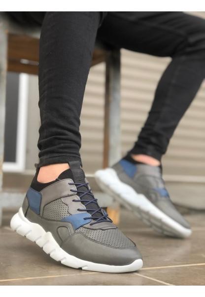 BA0039 Bağcıklı İçi Dışı Hakiki Deri Rahat Taban Gri Mavi Sneakers Casual Erkek Ayakkabı