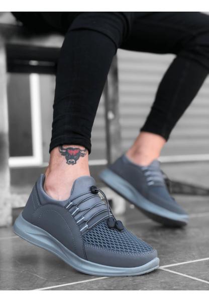 BA0173 Kalın Taban Lastikli Tarz Sneakers Gri Erkek Spor Ayakkabısı