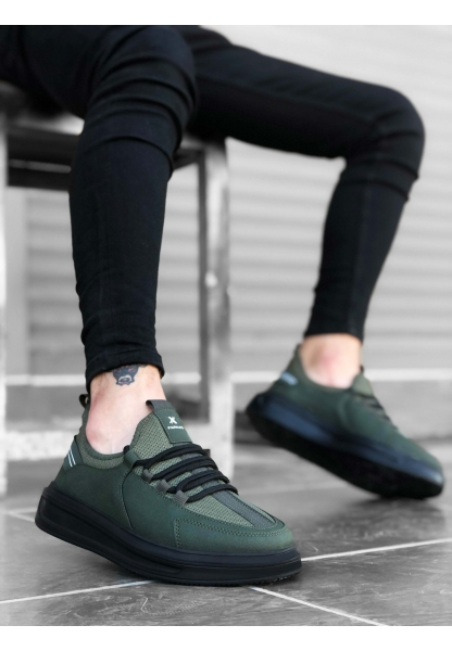 BA0176 Yüksek Taban Casual Bağcıklı Haki Sneakers Erkek Ayakkabı