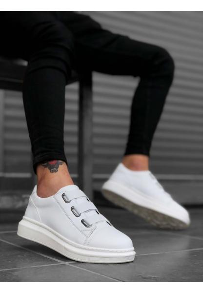 BA0172 3 Bantlı Yüksek Beyaz Taban Erkek Ayakkabısı