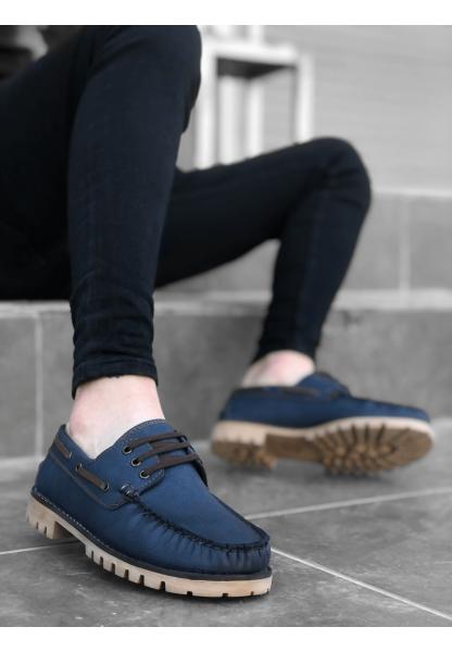 BA0037 Bağcıklı Corcik Mavi Klasik Erkek Ayakkabısı