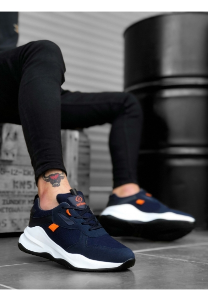 BA0175 Yüksek Taban Casual Bağcıklı Lacivert Sneakers Erkek Ayakkabı